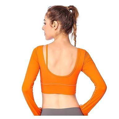 94c0acacaa025 Women Creative Fashion Yoga T-shirt Long Sleeve Pure Color ...