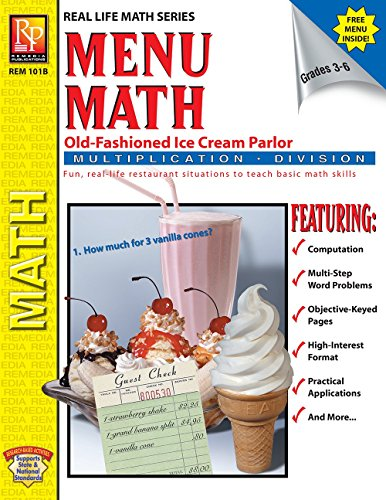 - Menu Math: Old-Fashioned Ice Cream Parlor (Multiplication & Division) | Reproducible Activity Book & Full-Color Menu