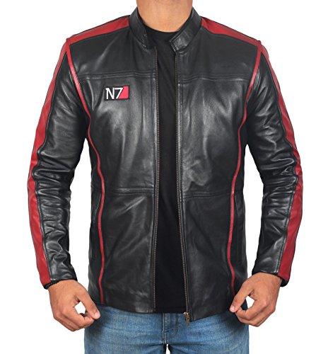 Black Leather Biker Jacket Men | Mass 7 Real, M ()