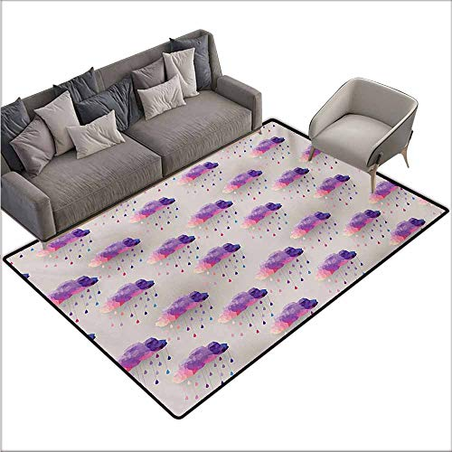 Bath Rug Slip Geometric Retro Triangle Pattern Geometric Art Mosaic Rain Drops on Polka Dots Print Suitable for Outdoor and Indoor use W78 xL94 Purple Grey Pink