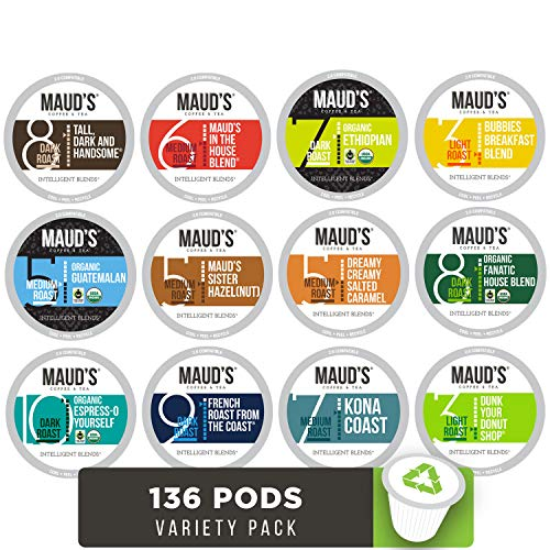 Maud's 12 Flavor Coffee Variety Pack, 136 ct. Recyclable Single Serve Coffee Pods - Richly satisfying arabica beans California Roasted, k-cup compatible including 2.0 ()