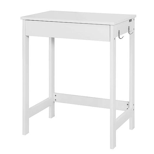 SoBuy® Mesa de escritorio, Mesa de ordenador con un cajón y 2 percheros ,color blanco, H 76 cm,FWT43-W,ES