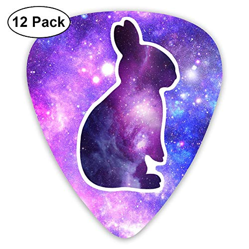 Bunny Camo (Galaxy Bunny Guitar Picks For Bass, Electric Guitar, Acoustic Guitar, 12 Pack Plectrums Includes Thin, Medium & Heavy Gauges)