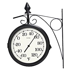 La Crosse Technology 104-730 Dual Faced Outdoor Station Clock and Thermometer, 8