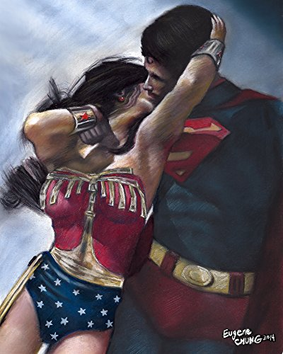 Wonder Woman and Superman Kissing Handmade Pastel Painting Canvas Gloss Canvas Size 16