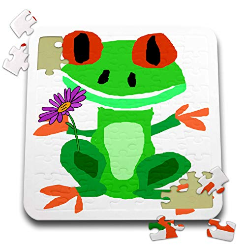 3dRose All Smiles Art - Animals - Cool Funny Green Tree Frog with Daisy Flower Primitive Art Cartoon - 10x10 Inch Puzzle (pzl_309652_2)