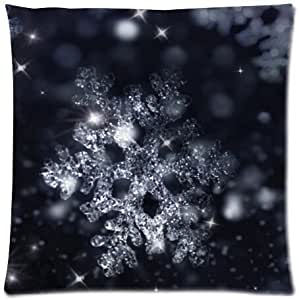 Merry Christmas Snowflakes Throw Pillow Case Cushion Covers Square 18x18 Inch (one side)