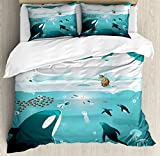 Lunarable Whale Queen Size Duvet Cover Set, Subaquatic Life in Arctic Circle with Fisherman Iceland Penguins Jellyfish, Decorative 3 Piece Bedding Set with 2 Pillow Shams, Dark Teal and White