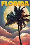 Florida - Sunset and Palm Tree (24x36 Giclee Gallery Print, Wall Decor Travel Poster)