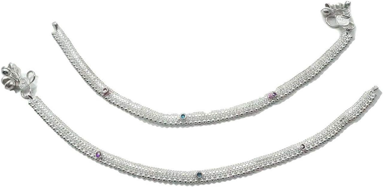 Silvertone Barefoot Brach Anklet Women Traditional Payal Ankle Bracelet Jewelry