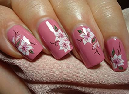 Amazon Elegant Red White Lotus Flower Daisy Nail Art Stickers