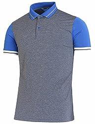 BCPOLO Men's Polo Shirt Spandex Raglan Short Sleeve Athletic Polo Shirt Blue XS