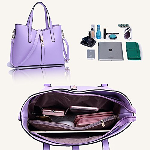 Leather Women Bag Card Shoulder PU Holder Set SIFINI Tote 4pcs Purple Fashion Bag Handbag Purse rose CtAqnd8