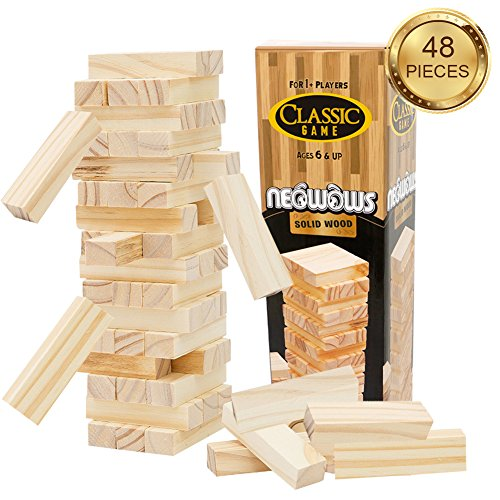 NEOWOWS Stacking Board Games Wooden Building Blocks Tower Camping Lawn Games for kids - 48 Pieces