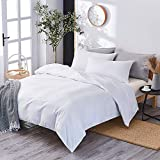 Marriarics 3 Piece Lightweight Duvet Cover Queen-Ultra Soft Washed Process Microfiber Set-Comforter Protector with Zipper Closure and 2 Pillow Shams (White)
