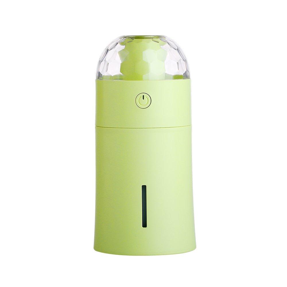 Vacio USB Projection lamp with 175ml Capacity Humidifier Mini Air Purifier Ultrasonic LED Night Light Humidifier for Car Office Car Babies Bedroom (Green)