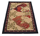 Kitchen Collection Rooster Beige Multi-Color Printed Slip Resistant Rubber Back Latex Contemporary French Country Kitchen Area Rug (Rooster, 3'3'' x 4'11'')