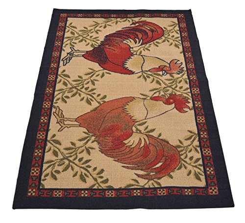 Kitchen Collection Rooster Beige Multi-Color Printed Slip Resistant Rubber Back Latex Contemporary French Country Kitchen Area Rug (Rooster, 3'3