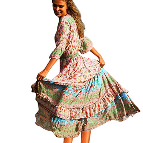 Sherostore ♡ Women's Dresses Bohemian Floral Printed Summer Casual Short Sleeve Flowy Ethnic Maxi Dress
