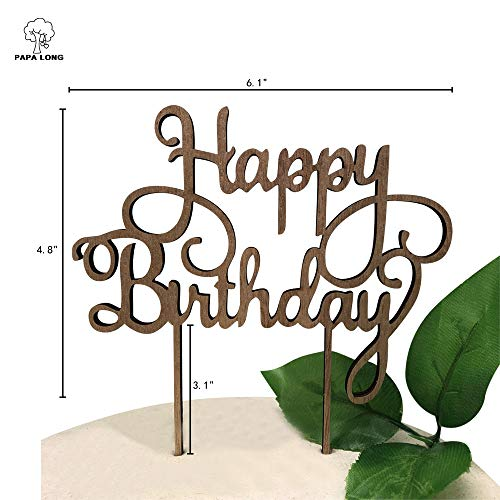 PAPA LONG Rustic Design Happy Birthday Cake Topper For Birthday Party Baby shower (5mm Wood Nature -