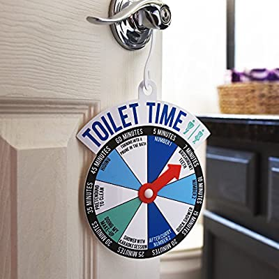 """Bathroom Door """"Toilet Time"""" Spinner Sign - Let The World Know How Long Your Going To Take And Why"""