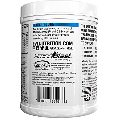Evlution Nutrition Recover Mode Post Workout Recovery Powder (30 Servings) (Blue Raz)