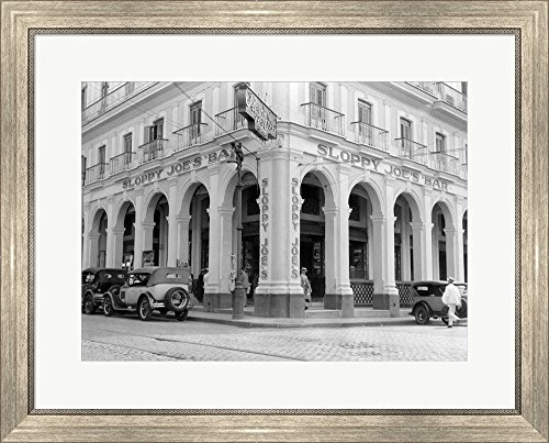 (1930s Outside Facade of Sloppy Joe's Bar by Vintage PI Framed Art Print Wall Picture, Silver Scoop Frame, 28 x 23 inches)