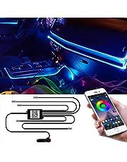 Wilktop Led-binnenverlichting voor de auto, 6 m, RGB, lichtstrip, neonverlichting, sfeerverlichting, binnenverlichting, lichtbalk met app