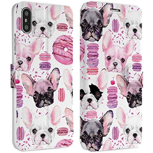 Wonder Wild Donuts Doggy iPhone Wallet Case 10 X/Xs Xs Max Xr 7/8 Plus 6/6s Plus Card Holder Accessories Smart Flip Hard Design Protection Cover Cute Animals Little French Bulldog -