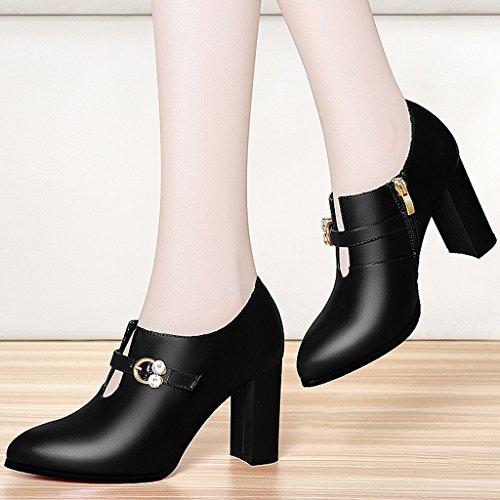 Noir femmes à section imperméable hiver tendance en des et chaussures Les automne talons l'eau fine hauts 7ztqZg