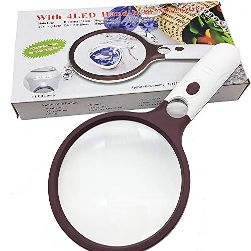 Extra Large Magnifying Glass with Light 5.5'' Bright 4 LED Lights, 2X +30X Double Optical Lens Handheld Magnifier Glass for Reading,Coins, Seniors, Jewelry Hobbies Geology by SINOCCL (Large Red) by SINOCCL (Image #2)