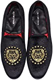 ELANROMAN Mens Loafers Velvet Black Leather Shoes Embroidery Tiger Head 1 Wedding Party Fashion Shoes US 10 EUR 44 Feet Lenght 295mm
