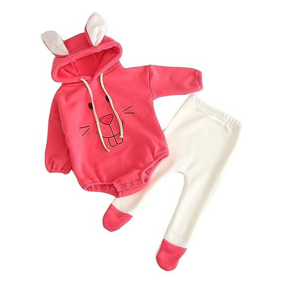 b3daaa2af Newborn Infant Baby Girl Boy Cartoon Rabbit Tops Hooded Romper Pants ...