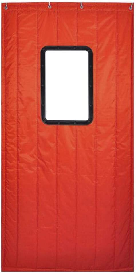 Whinop Rojo Cortina Aislante para Puerta con Ventana Transparente 100x220cm/39.4x86.7in Cortina Aislante Frio para Niños, Niñas, Dormitorio, Sala De Estar