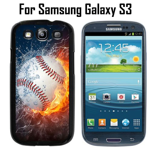 Ice and Fire Powerful Baseball Custom Case/ Cover/Skin *NEW* Case for Samsung Galaxy S3 - Black - Plastic Case (Ships from CA) Custom Protective Case , Design Case-ATT Verizon T-mobile Sprint ,Friendly Packaging - Slim Case