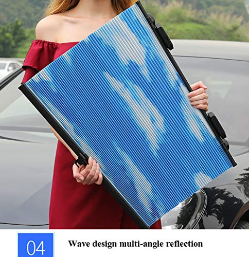XLKP Sun visor 2019 Honeycomb Double Sunshade,Automatic Shrinkage Car Windscreen Sunshade, Anti-UV Aluminum Foil Foldable Sunshade for Almost All Cars,Blue,60cm