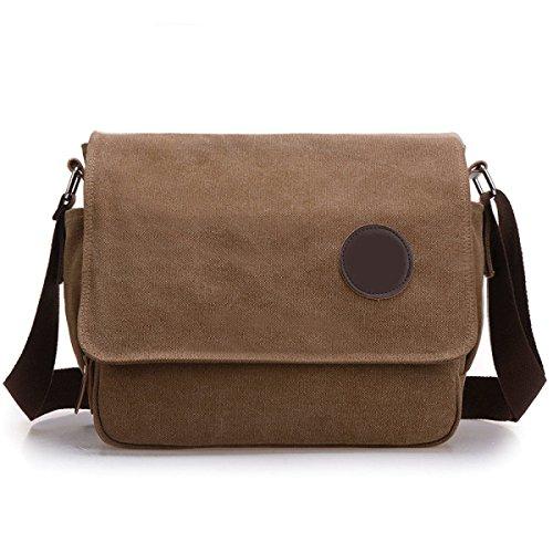 Bolsa De Trabajo De La Lona Bolsa De Mensajero De La Taleguilla Del Hombro School Bookbag Para Hombres Y Mujeres De Brown,E-OneSize