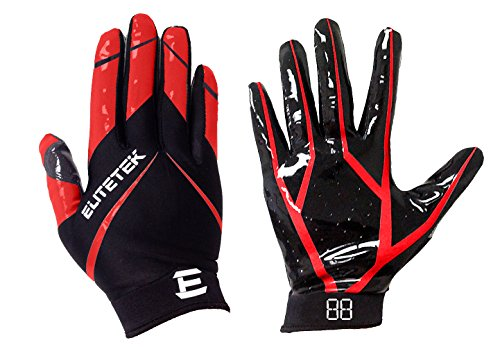 EliteTek RG-14 Football Gloves Youth and Adult (Red, Youth M)