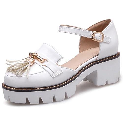 42e8ffeb FANIMILA Mujer Moda Verano Cerrado Tacon Ancho Sandalias Chicas Colegio  Strappy Zapatos (43 EU,