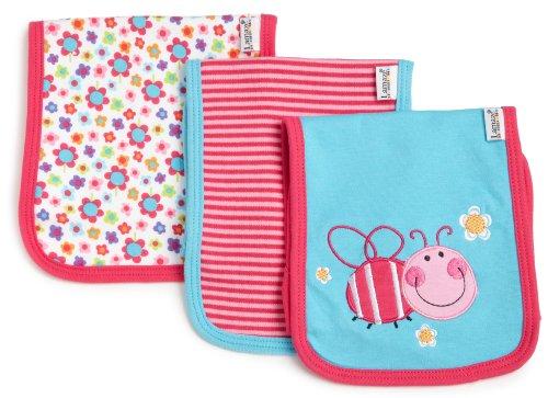 Lamaze Baby-Girls Newborn 3 Pack Flower Ladybug Interlock Burp Cloth