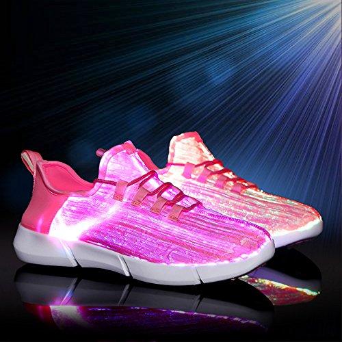Idea Cornici Fibra Ottica Led Light Up Scarpe Per Donna Uomo Usb Lampeggiante Moda Lampeggiante Ricaricabile (dimensione Bambino / Taglia Donna / Taglia Uomo) Rosa
