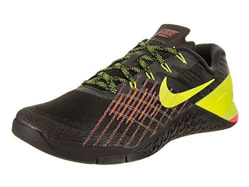 Nike Men's Metcon 3 Black/Volt/Hyper/Crimson Training Shoe 10 Men US by NIKE