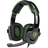 Cuffie Gaming con Microfono Regolatore di Volume per PS4 XBOX ONE, Sades SA930 con Stereo Bass Noise Cancelling 3.5mm Gioco Video Cuffia Gaming per PS4 PC Mac Laptop Tablet Smartphone(Verde)