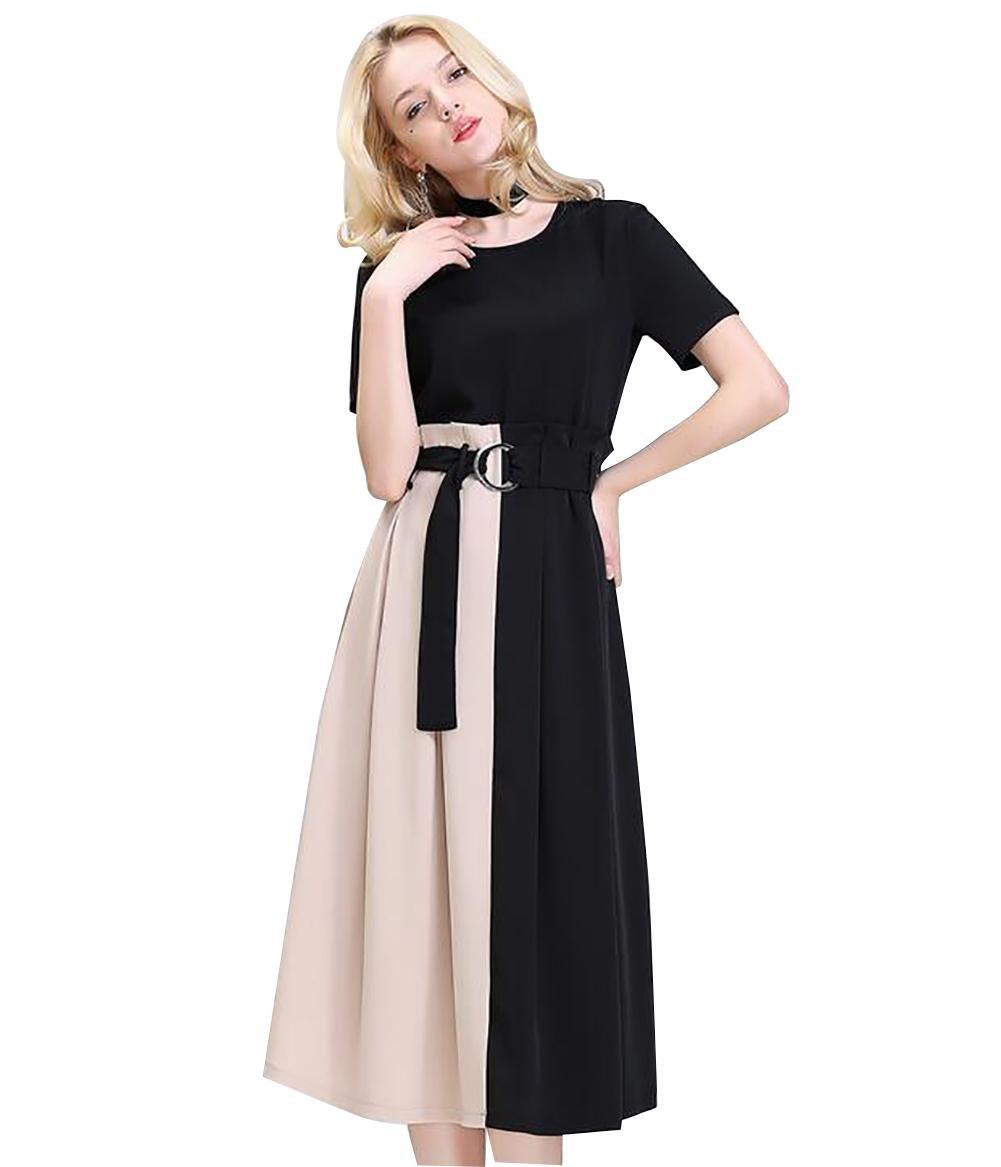 El vestido de la nueva cintura de manga corta de las nuevas mujeres con la falda larga de costura