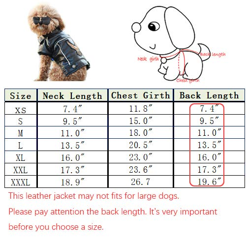 Cuteboom Dog Winter Coat Pu Leather Motorcycle Jacket for Dog Pet Clothes Leather Jacket, Waterproof(S)