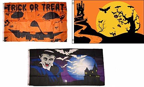 ALBATROS 3 ft x 5 ft Happy Halloween 3 Pack Flag Set #159 Combo Banner Grommets for Home and Parades, Official Party, All Weather Indoors Outdoors ()