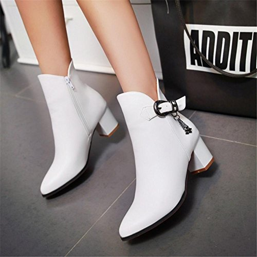 NVXIE Womens Short Boots Martin Rough High Heel Pointed Toe Artificial PU Belt Buckle Black Gray Fall Winter Party Work WHITE-EUR41UK758 170wy5QD