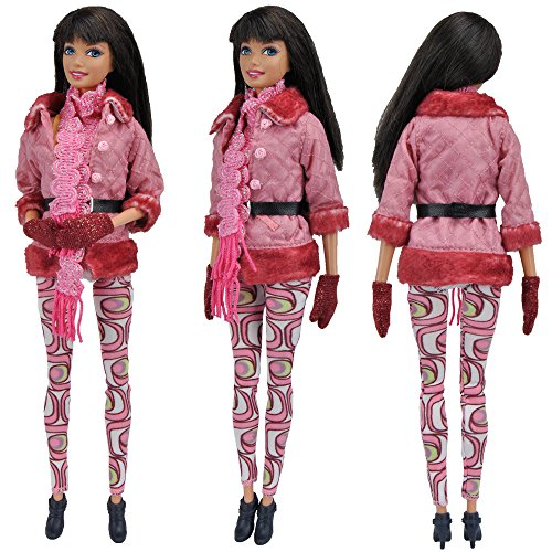E-TING Doll Clothing Set 1pcs Fashion Fur Jacket Coat with Lot Accessories Boot Gloves Handbag for Barbie Fashionista Dolls - Barbie Gloves