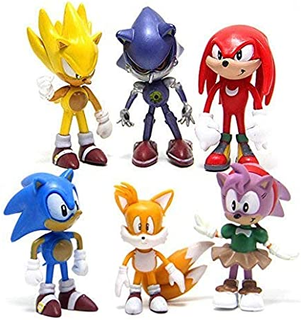 Amazon Com Hystyle 6 Pcs Sonic The Hedgehog Action Figures Cake Toppers 2 4 Toys Games