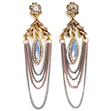 New Fashion Handmade Crystals Feather Tassels Statement Earrings For Women Gold Plated (D)